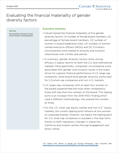 Evaluating the financial materiality of gender diversity factors cover